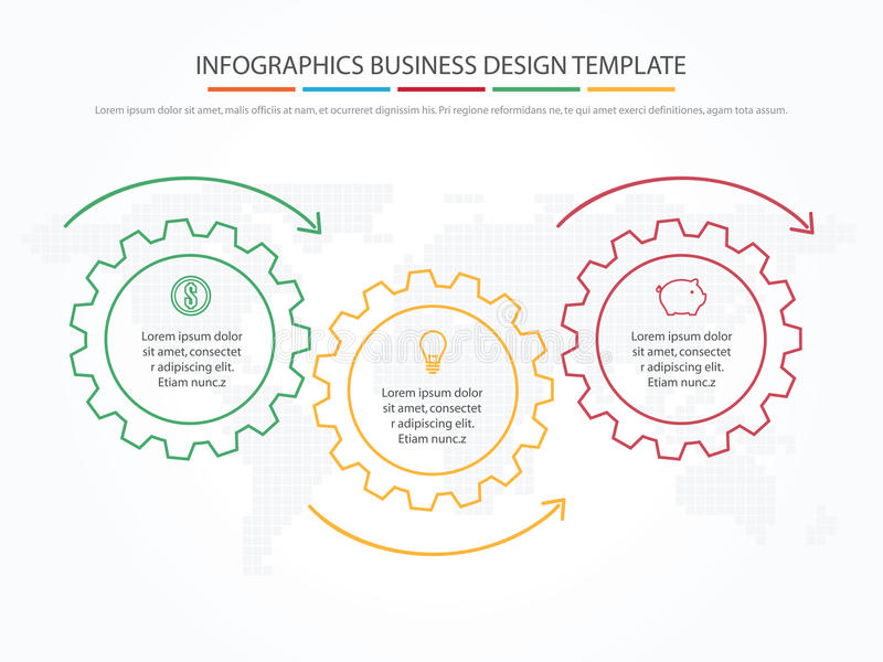 Business infographics. Timeline with 3 steps, gears, cogwheels. royalty free illustration