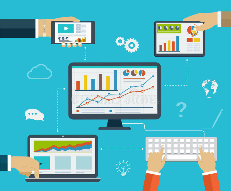 Business infographics by using modern of digital devices. For internet browsing, reporting, statistical charts and graphs royalty free illustration