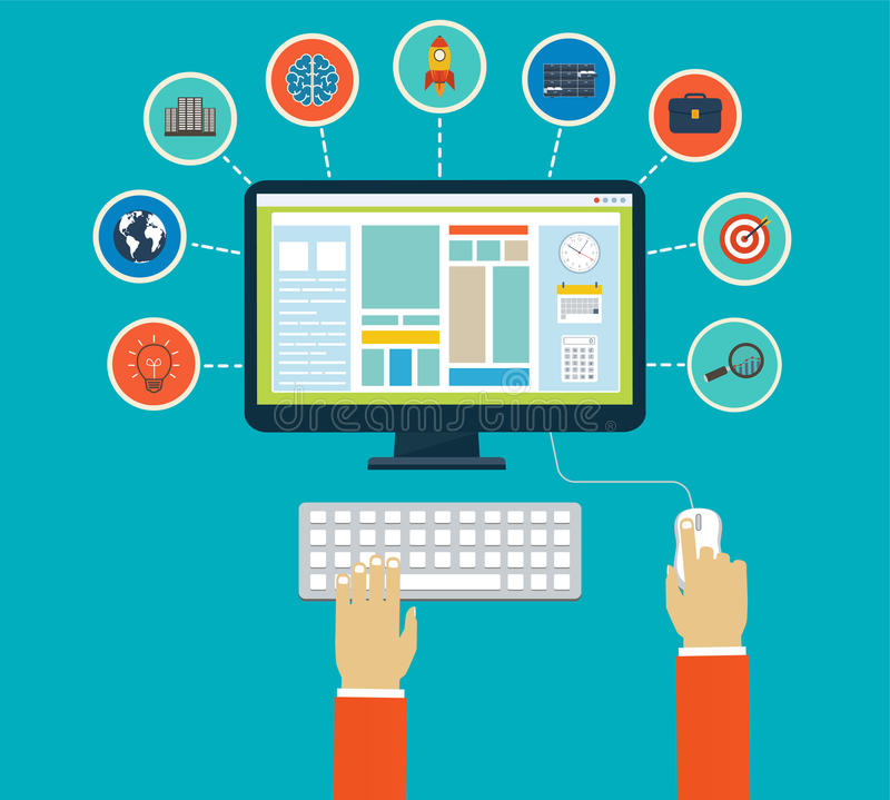 Business infographics by using modern of digital devices. Or web apps, reporting, statistic data with icons stock illustration