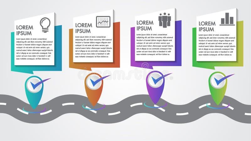 Business Infographics Vector Company里程碑时间安排4步与尖的模板拷贝空间在一条弯曲的路线旅途 向量例证