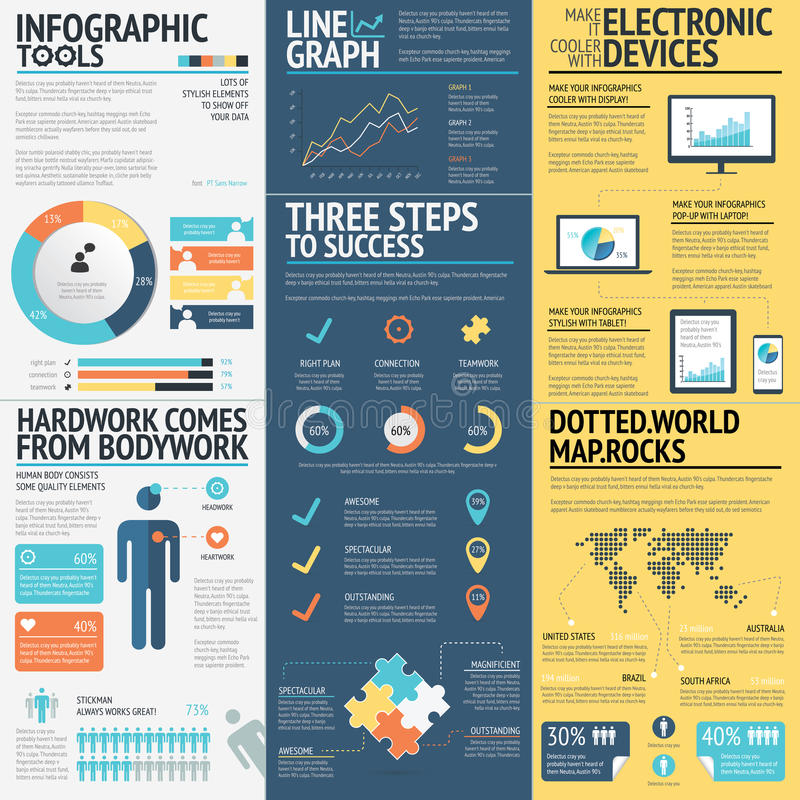 Business infographics vector elements in 3 flat business colors stock illustration