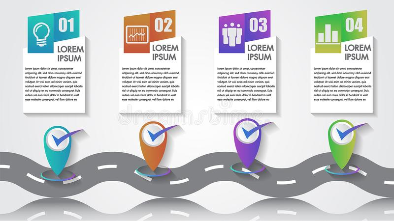Business Infographics Vector Icon number Company Milestones Timeline 4 steps template copy-space with pointers on a curved road. Line journey minimalist royalty free illustration