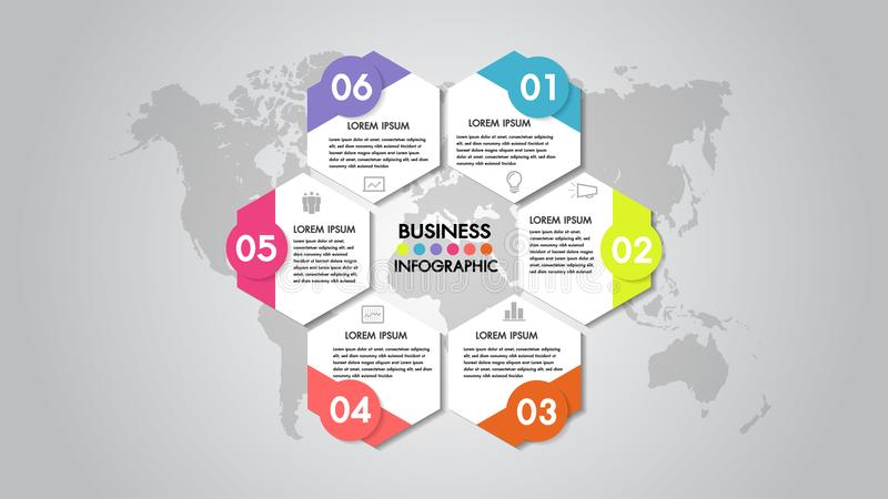 Business infographics Vector illustration Organization chart with 6 options. Template for brochure, business, web design, hexagon royalty free illustration