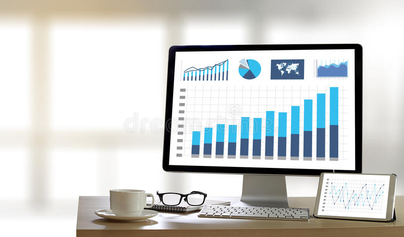 Business Information Technology people work hard Data Analytics royalty free stock photos