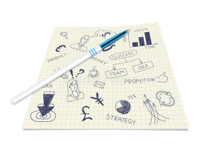 Download Business Ink Doodles On Paper With Pen Stock Vector - Illustration: 22399279