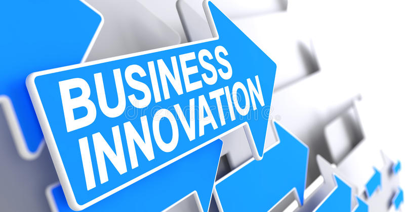 Business Innovation - Inscription on the Blue Pointer. 3D. Business Innovation, Label on Blue Cursor. Business Innovation - Blue Arrow with a Label Indicates stock illustration