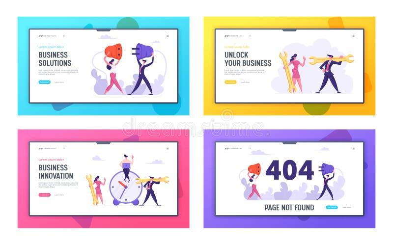 Business Innovation, Lösung, 404 Error Website Landing Page Set, Time Management, Teamwork Business People with Socket stock abbildung