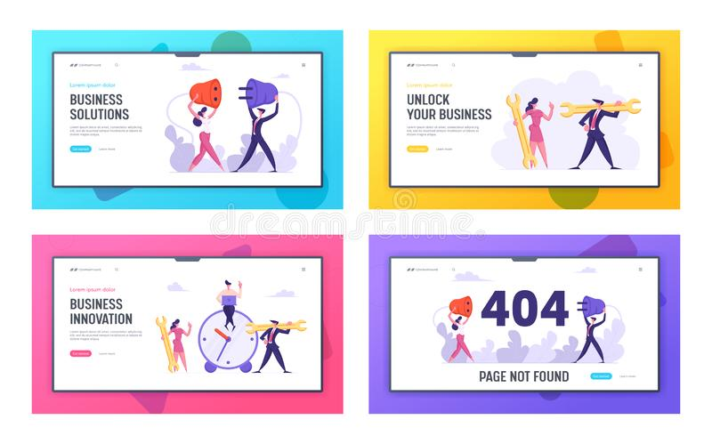 Business Innovation, Solution, 404 Error Website Landing Page Set, Time Management, Teamwork Business People with Socket. Plug and Wrench, Web Page not Found stock illustration