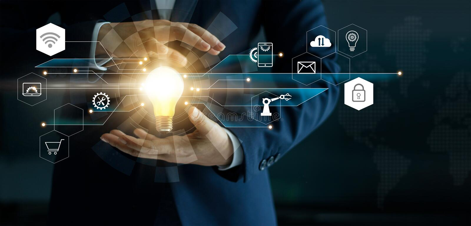 Business innovation technologies concept. Businessman ` s hand holding glowing light bulb with icon technology network connection. Futuristic digital marketing stock illustration