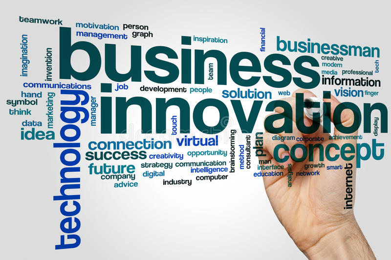 Business innovation word cloud concept on grey background stock photography