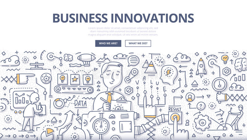 Business Innovations Doodle Concept. Doodle illustration of implementing new ideas, making better services or products, creating new value for customers royalty free illustration