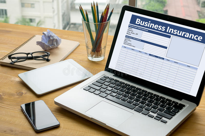 Business Insurance Management work Business. Laptop on table. Warm tone stock images
