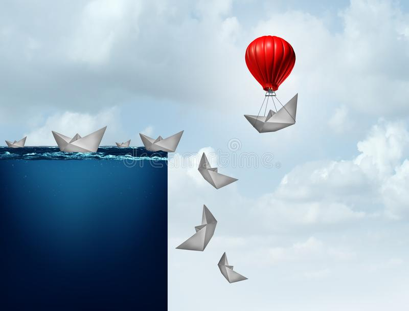 Business Insurance Plan. And corporate liability protection concept as a paper boat lifted away from doom with 3D illustration elements vector illustration