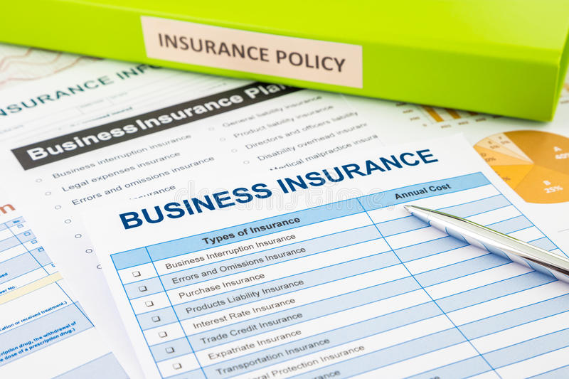 Business insurance planning for risk management. Business insurance planning with checklist forms and document binder, concept for risk management stock photo