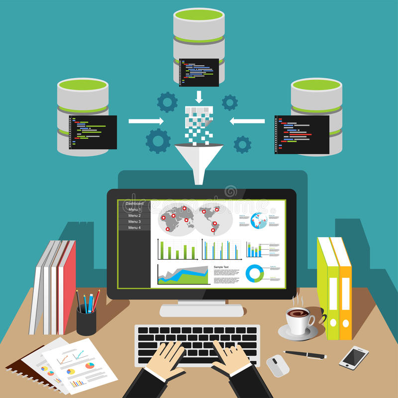 Business intelligence analytics dashboard. Data mining concept stock illustration