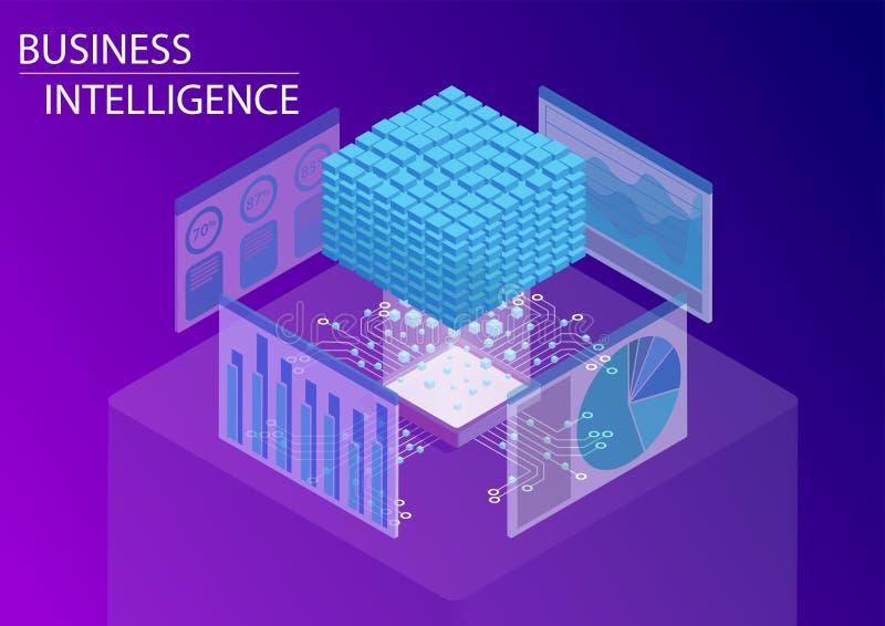 Business Intelligence, BI pojęcie z/dane sześcianem i analityki deską rozdzielczą 3d isometric wektorowa ilustracja ilustracja wektor