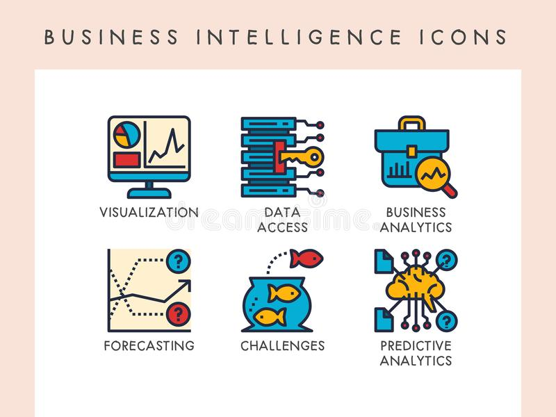 Business intelligence icons. Business intelligence concept icons for website, app, blog, presentation, etc royalty free illustration