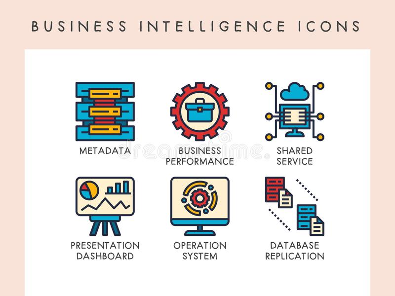 Business intelligence icons. Business intelligence concept icons for website, app, blog, presentation, etc stock illustration