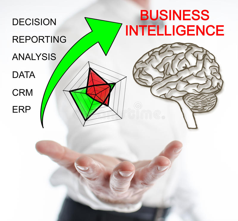 Business intelligence concept levitating above a hand. Of a man stock photography