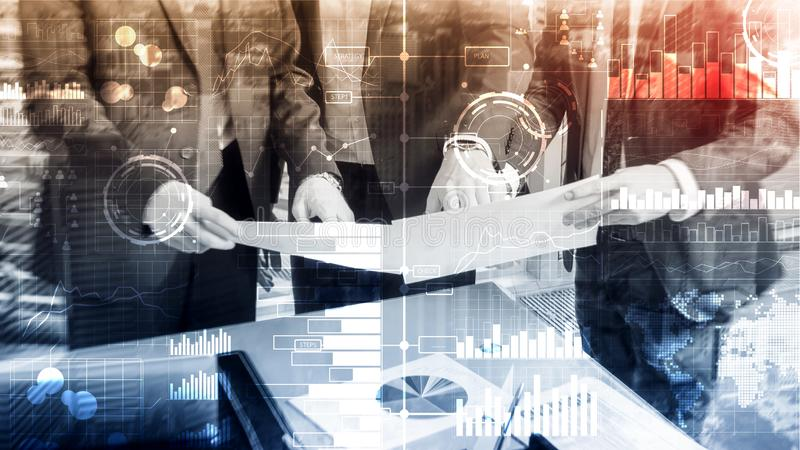Business intelligence. Diagram, Graph, Stock Trading, Investment dashboard, transparent blurred background.  royalty free stock image