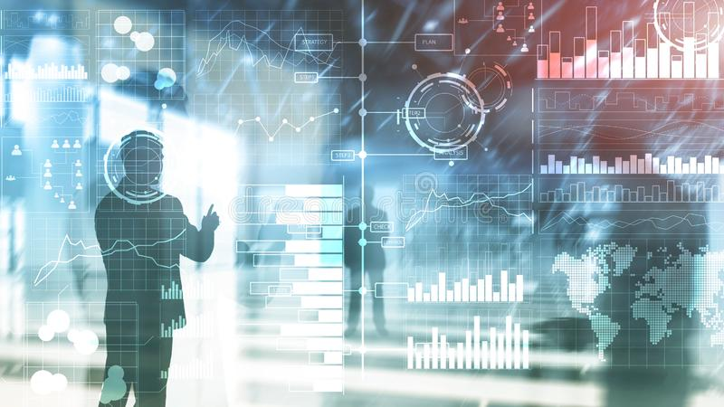 Business intelligence. Diagram, Graph, Stock Trading, Investment dashboard, transparent blurred background. stock illustration