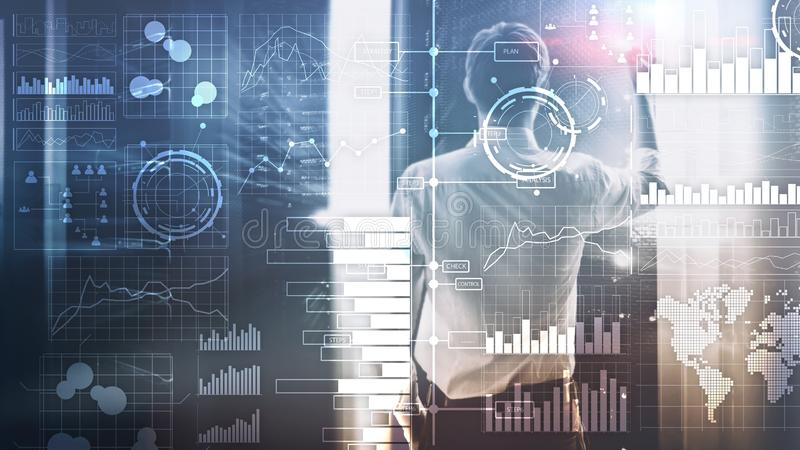 Business intelligence. Diagram, Graph, Stock Trading, Investment dashboard, transparent blurred background stock photo