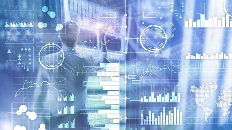 Business intelligence. Diagram, Graph, Stock Trading, Investment dashboard, transparent blurred background. royalty free illustration