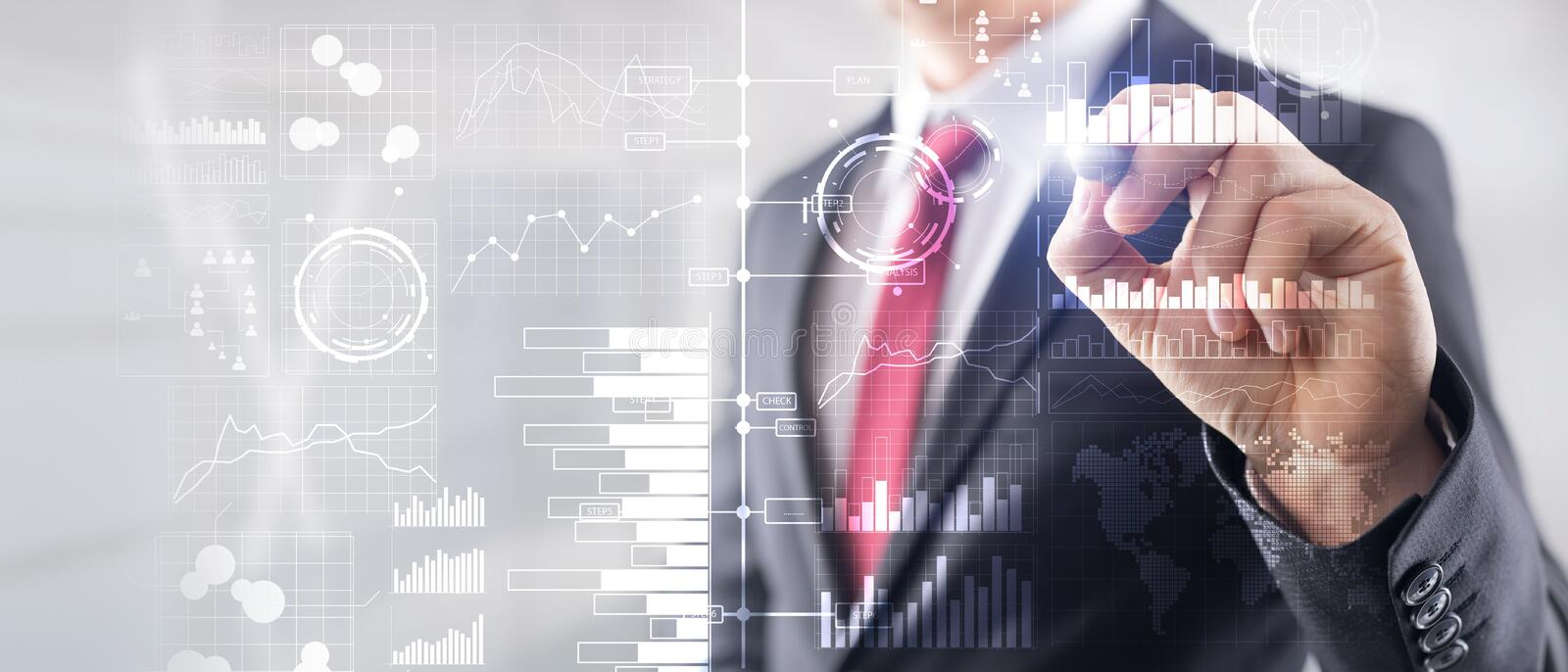 Business intelligence. Diagram, Graph, Stock Trading, Investment dashboard, transparent blurred background. Business royalty free stock image
