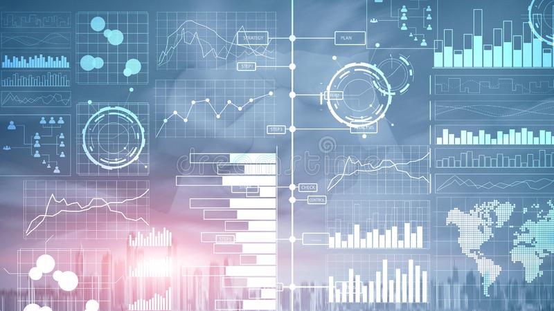 Business Intelligence Diagram, wykres, Akcyjny handel, Inwestorska deska rozdzielcza, przejrzysty zamazany tło ilustracja wektor