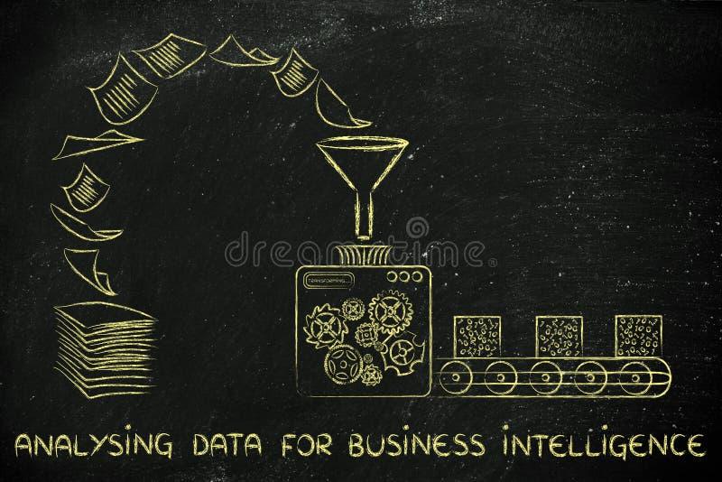 Business intelligence e dati analizzare: la fabbrica lavora il trasporto a macchina fotografia stock