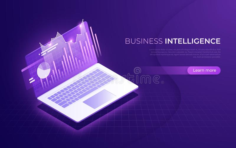 Business intelligence, financial performance, data analysis isom. Etric concept. Vector illustration royalty free illustration