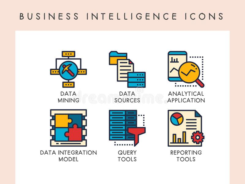Business intelligence icons. Business intelligence concept icons for website, app, blog, presentation, etc vector illustration