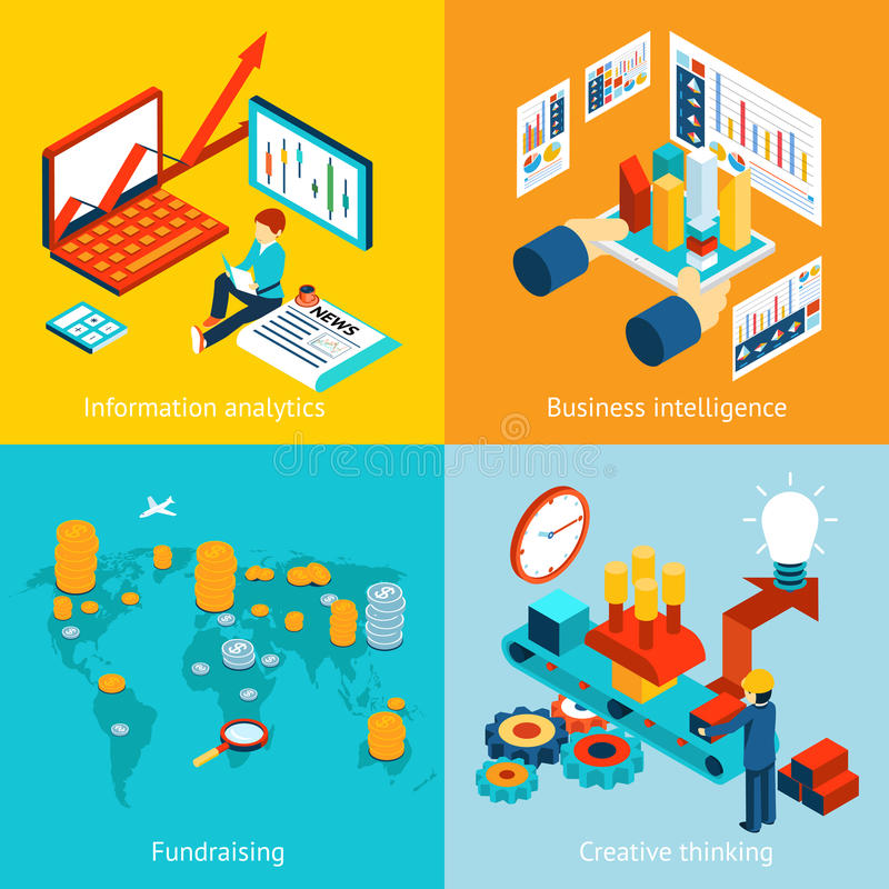 Business intelligence information analytics vector illustration