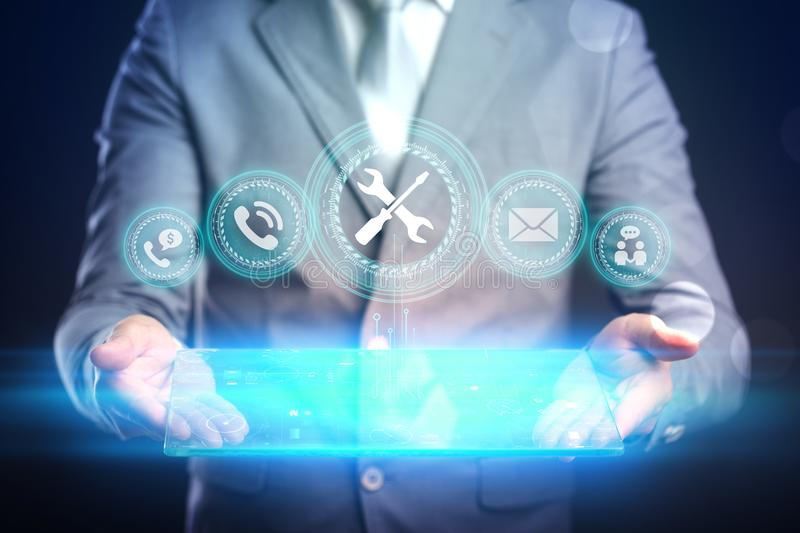 Business internet technology concept. Businessman chooses Support 24/7 button on a touch screen interface. royalty free stock photos