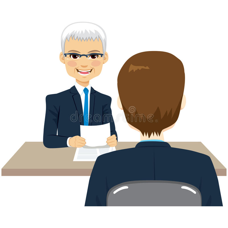 Business Interview. Illustration of two businessmen on business interview royalty free illustration