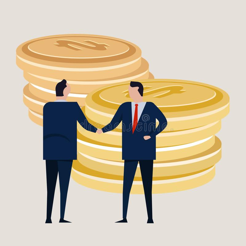 Business investment agreement standing handshake wearing suite formal. Bring money cash coin. Concept vector stock illustration