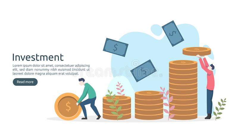 Business investment concept. dollar pile coin, tiny people, money object. graphic chart increase. Financial growth rising up to vector illustration