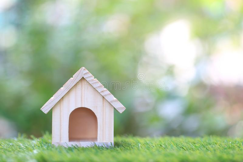 Business investment and real estate, Model house on natural green background.  royalty free stock photos