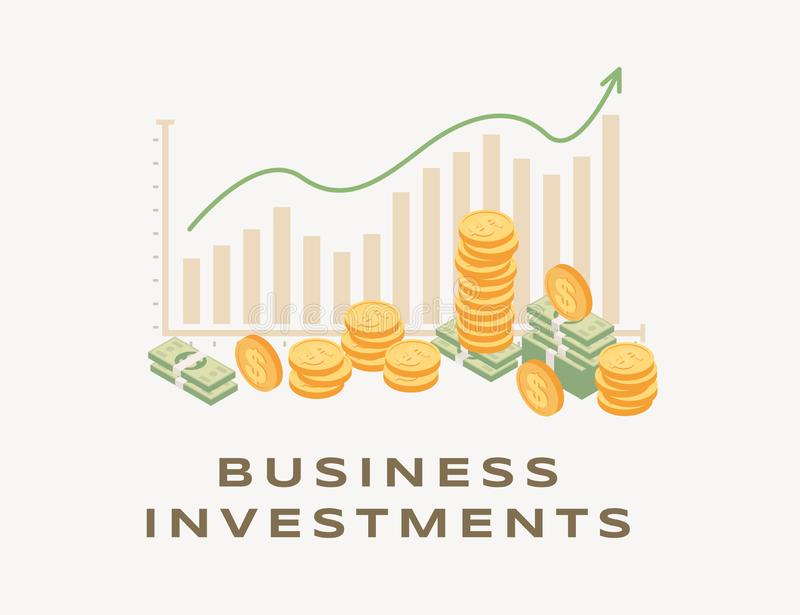 Business investment, rising graph illustration. Growing bar graph and arrow, increasing income, successful business vector illustration