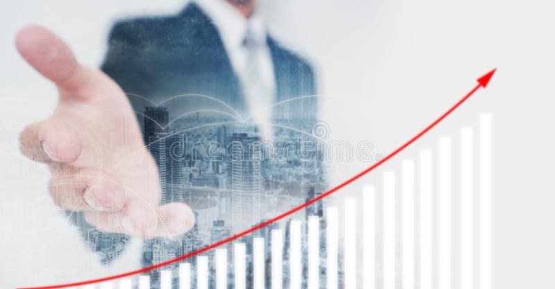 Business investor extending hand, showing increasing financial graph. Business growth and investment stock illustration
