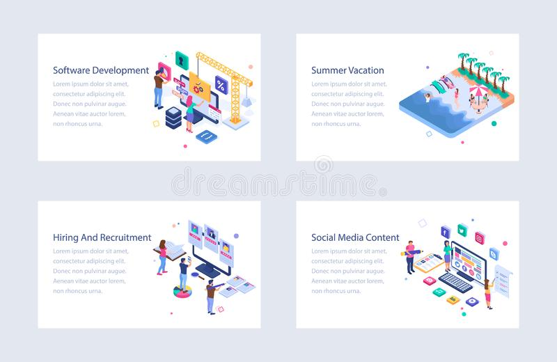 Business Isometric Vector Illustrations Collection royalty free illustration