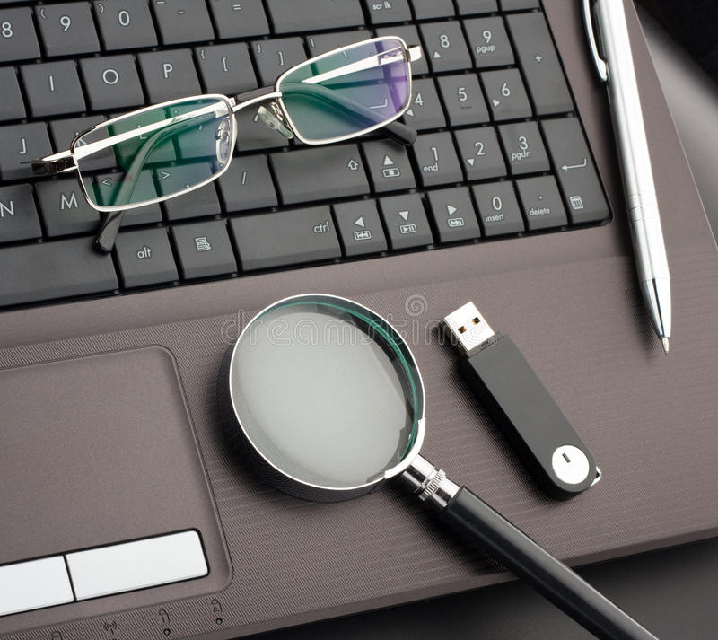 Business items. On laptop computer royalty free stock photos