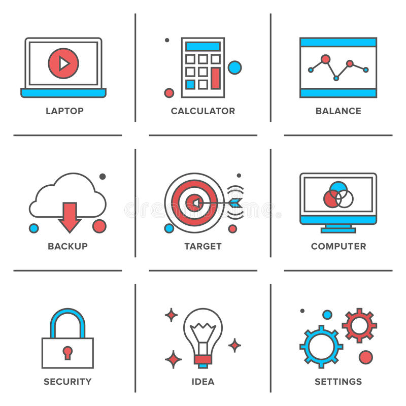 Business items line icons set vector illustration