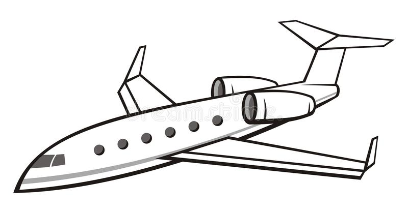 Business Jet. Illustration of a flying business jet isolated on white background. Side view from above royalty free illustration