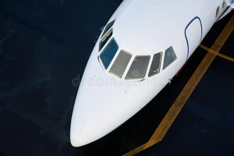Business JET. FALCON 2000EX cabin shot from above, cabin path included royalty free stock photos