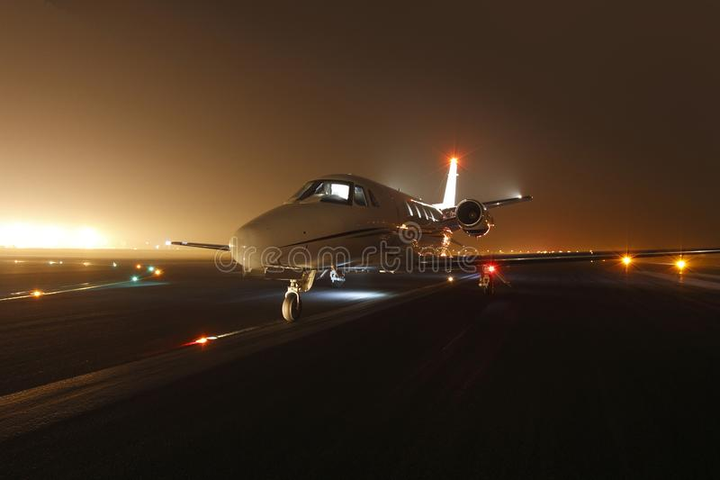 Business jet ready for take off royalty free stock photography