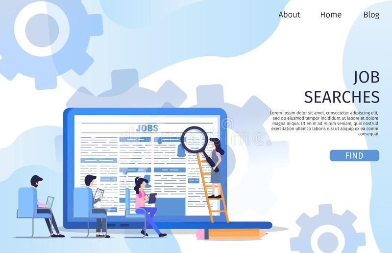 Business Job Search Interview Employee Character. Supervisor Select between Woman and Man Group Resume Document for Manager Occupation. Corporate Employer vector illustration