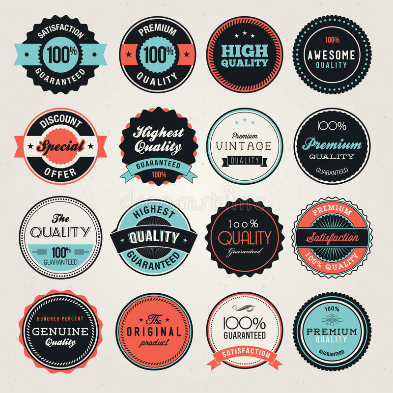 Business labels and badges. Set of business labels and badges stock illustration