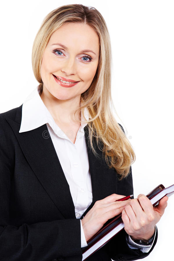 Business lady. Portrait of attractive business lady looking at camera stock photos