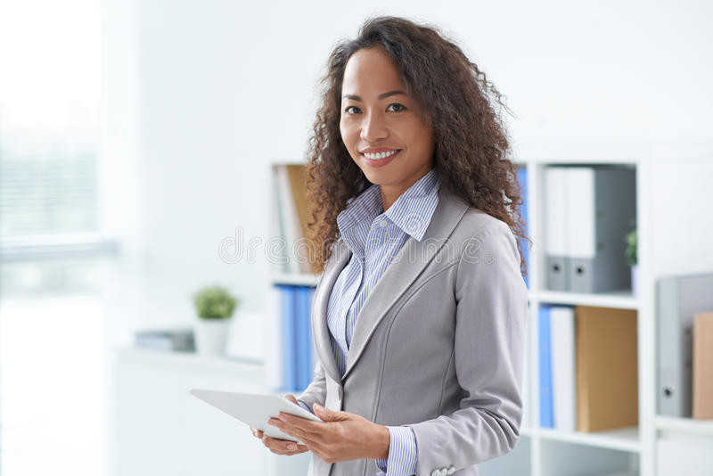 Business lady with a digital tablet royalty free stock images